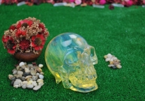 Citrine and Opalite crystal Skull