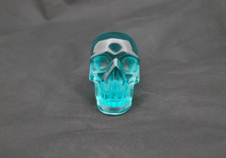 Blue green obsidian Skull