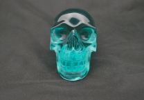 Blue green obsidian skull 844 (7)