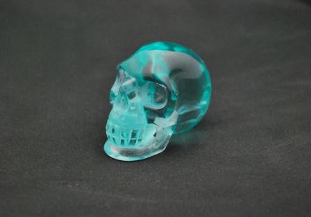 Blue green obsidian Skull