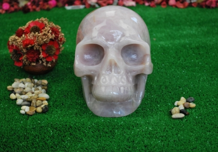 Rose quartz Crystal Skull
