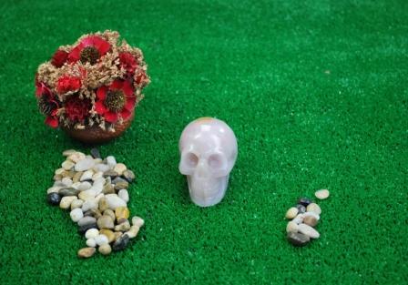 Rose quartz Crystal Skull