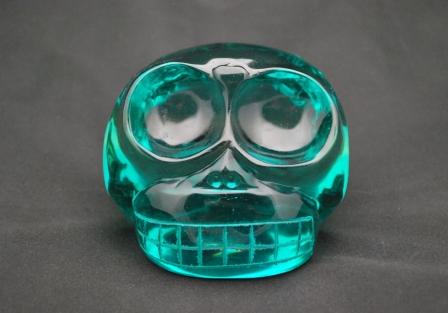 Mongolian style Blue Green obsidian Skull