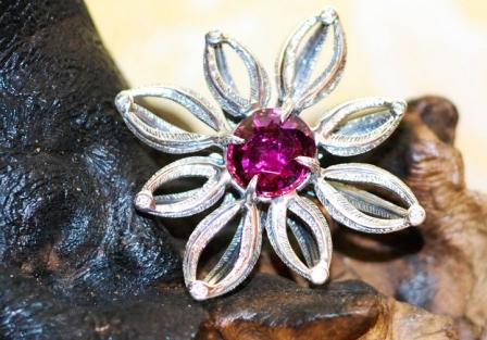 Rubelite Flower ring